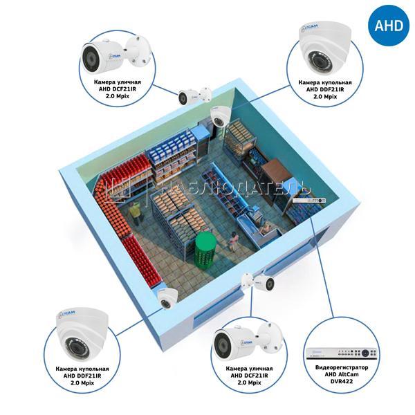 Комплекты Комплект видеонаблюдения AHD Наблюдатель, Комплект видеонаблюдения AHD для магазина на 4 камеры
