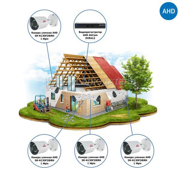 Комплекты Комплект видеонаблюдения AHD Наблюдатель, Комплект камер видеонаблюдения для стройки на 4 камеры AHD