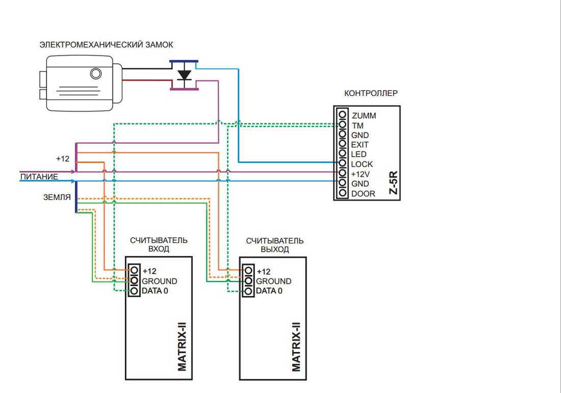 """Схема подключения  """"офис """" с электромеханическим замком."""